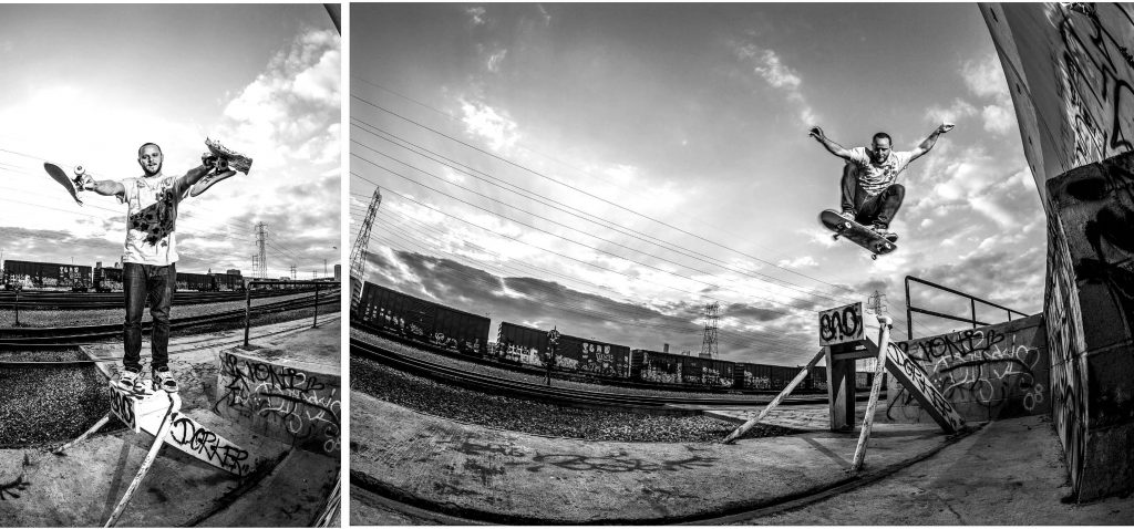 Self-portrait of an ollie with help of Jake Schmidt at a Los Angeles train yard
