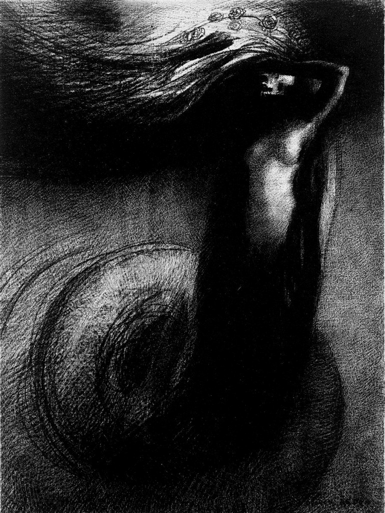 """""""Death: My Irony Surpasses All Others!"""" Odilon Redon, lithograph from his """"The Temptation of Saint Anthony"""" series circa 1881."""