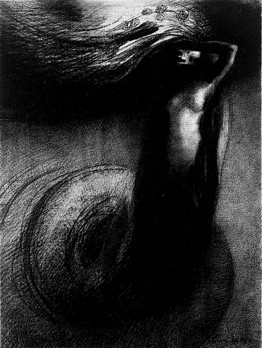 """Death: My Irony Surpasses All Others!"" Odilon Redon, lithograph from his ""The Temptation of Saint Anthony"" series circa 1881."