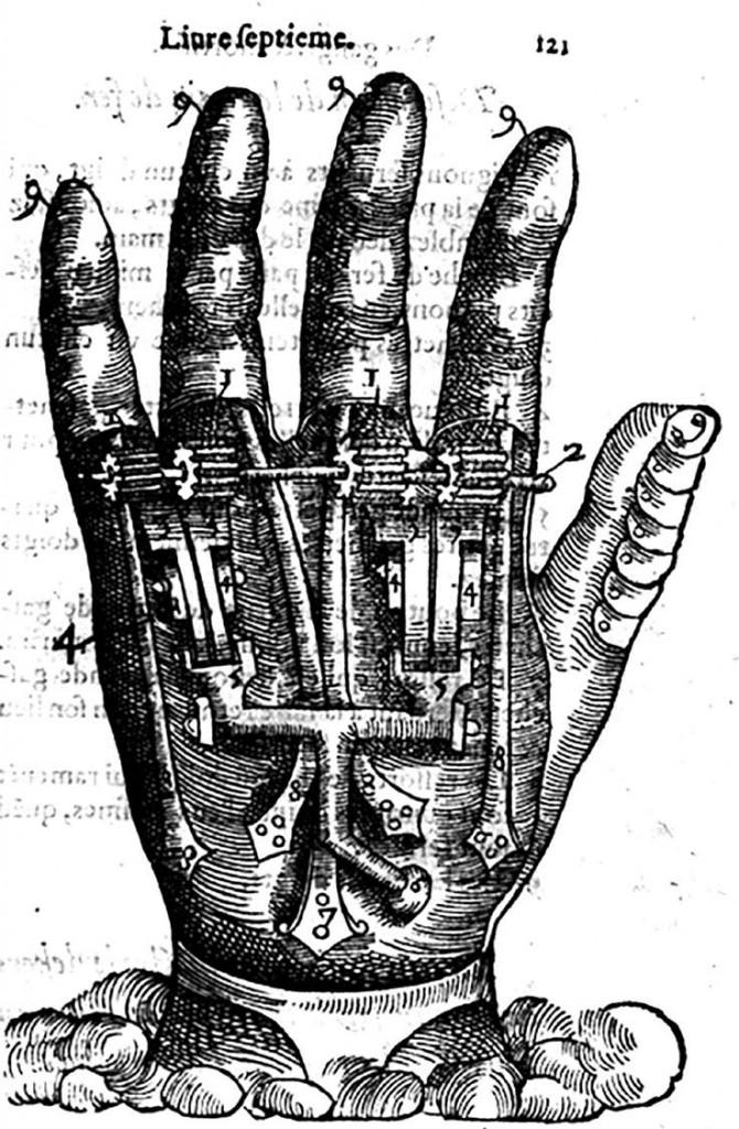 From Ambroise Paré's designs for mechanical prosthetics in Dix livres de la chirurgie (1564)