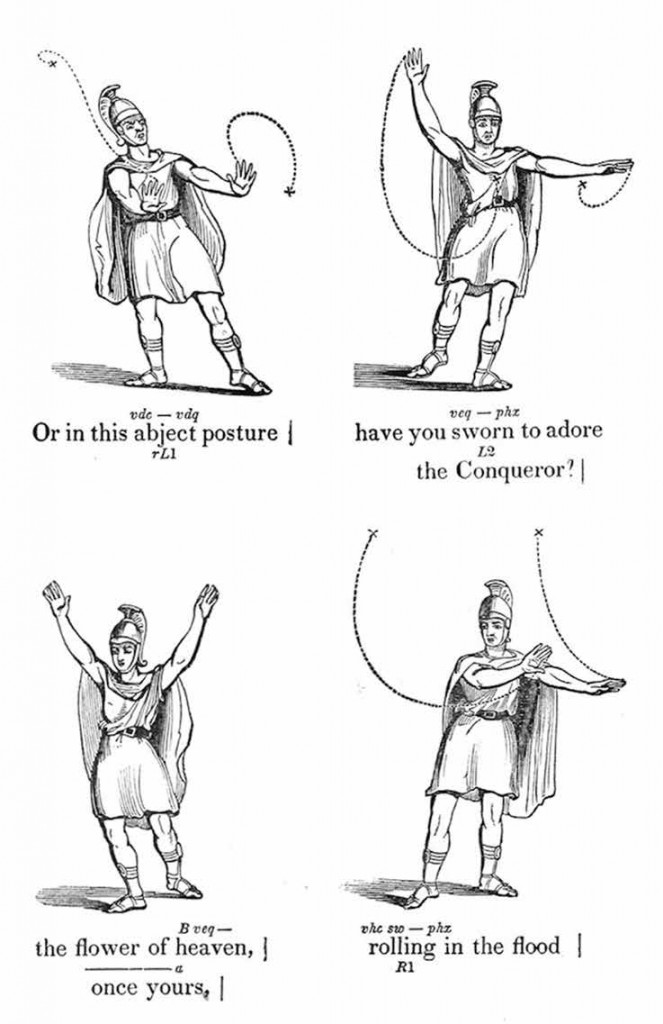 "Images, slightly altered, sourced from a section of Andrew Comstock's ""A System of Elocution, with Special Reference to Gesture, to the Treatment of Stammering, and Defective Articulation"" that depicts Satan's address to his legions in Milton's Paradise Lost (1846)."