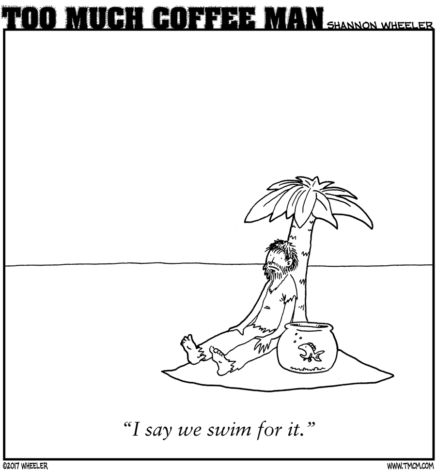 ANTIGRAVITY-SEPTEMBER-2017-COMIC-TOO-MUCH-COFFEE-MAN-by-Shannon-Wheeler